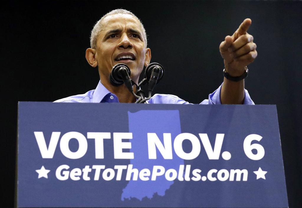前總統奧巴馬所屬的民主黨有望奪得眾議院控制權。AP圖片