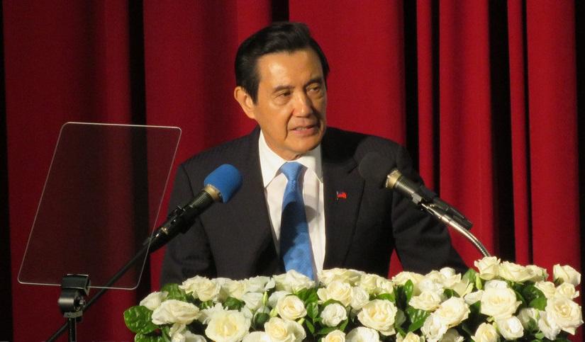 馬英九在「馬習會三周年政策研討會」上發表演說。