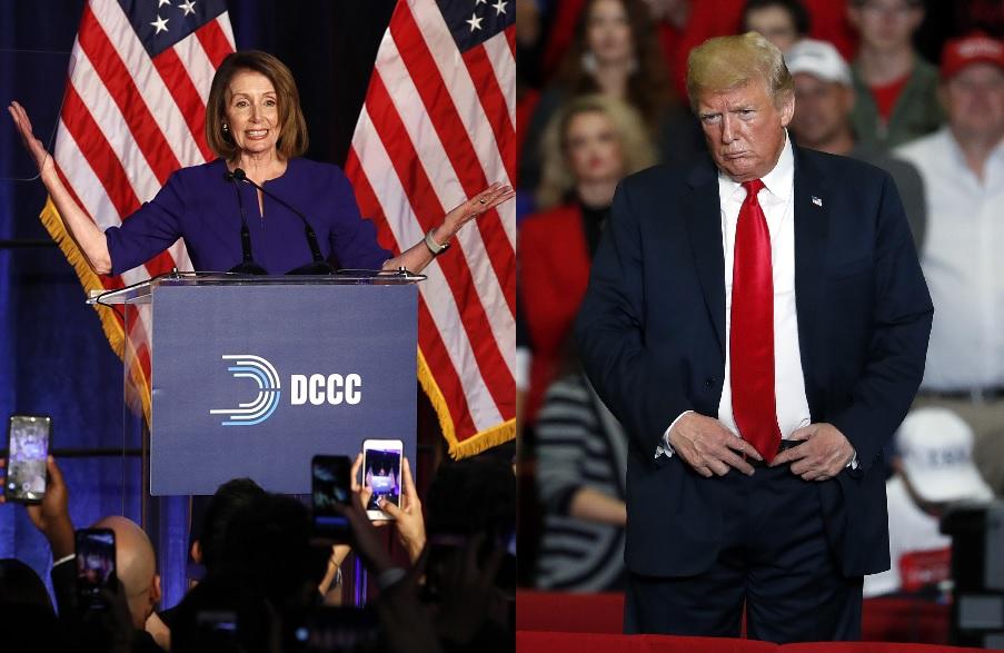 特朗普(右)已致電並恭喜佩洛西,並認同她在勝利演說中提及跨黨合作。美聯社