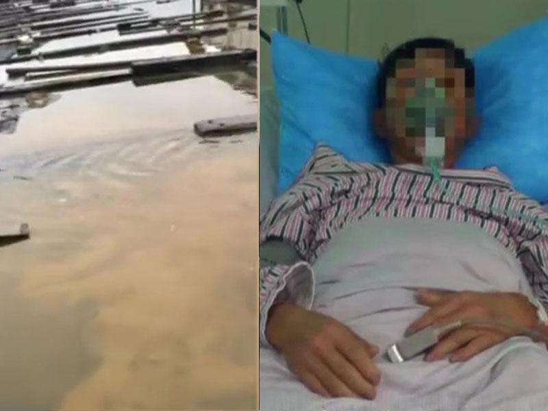 福建泉港日前發生碳九洩漏事故,漁排損失慘重,有漁民掉水中後疑雙肺炎入院。(網圖)
