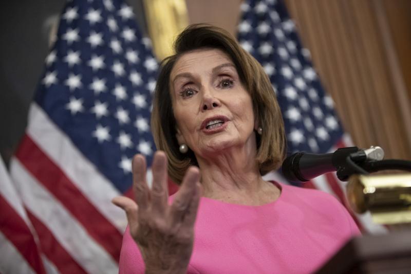 現任民主黨眾議院領袖佩洛西在華盛頓召開記者會,形容自己為眾議院議長的理想人選。AP
