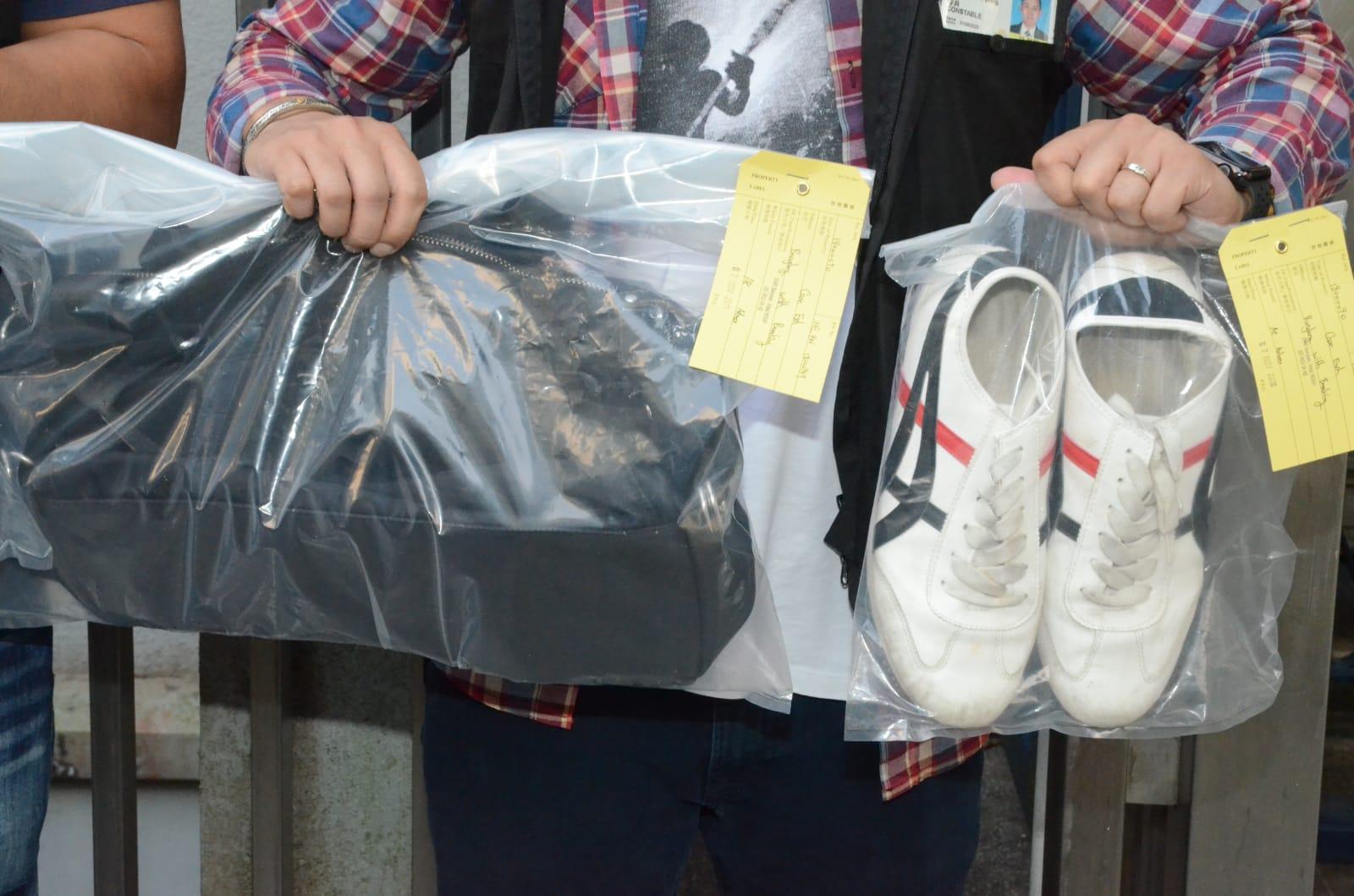 警方檢獲疑犯疑犯案時所穿的衣物。
