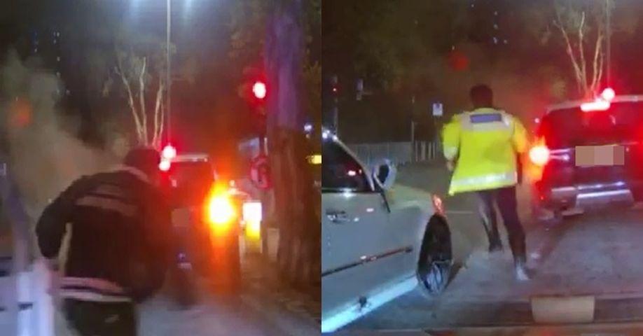 一輛平治房車撞到於燈位前停車等候的另外2輛私家車。平治司機事後下車逃走,被一名警員從後追截。