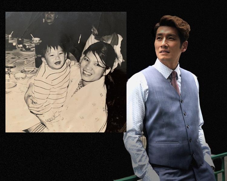 袁文傑貼上兒時與母親的黑白合照。(ig圖片)