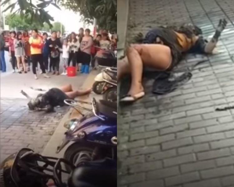 廣西孕婦被當街縱火。網上圖片