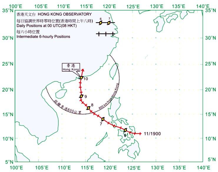 1900 年 11 月 5 日至 10日的路線圖。天文台圖片