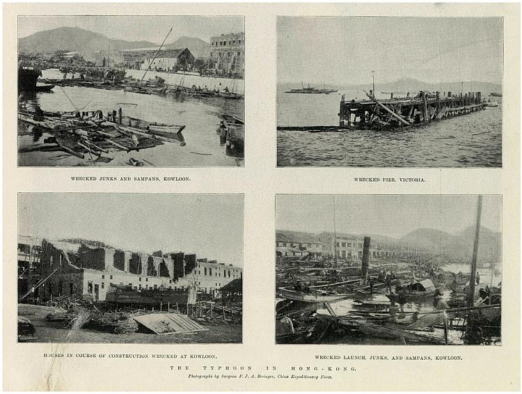 當年倫敦畫報報道庚子颱風在香港所帶來的破壞。天文台圖片