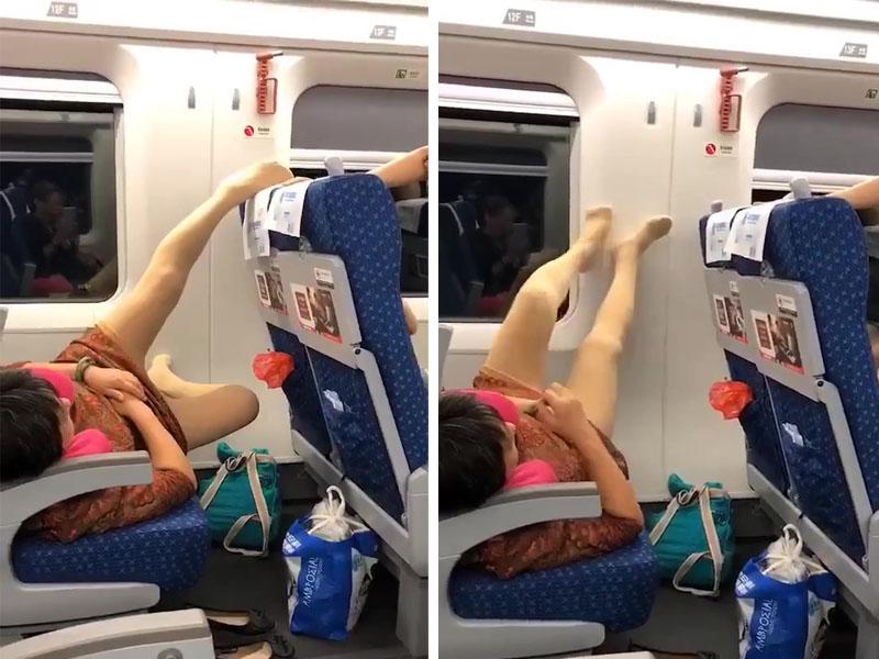 噁心!大媽霸座新姿勢,在列車上脫鞋躺一排座位, 腳擱前排座背。(網圖)