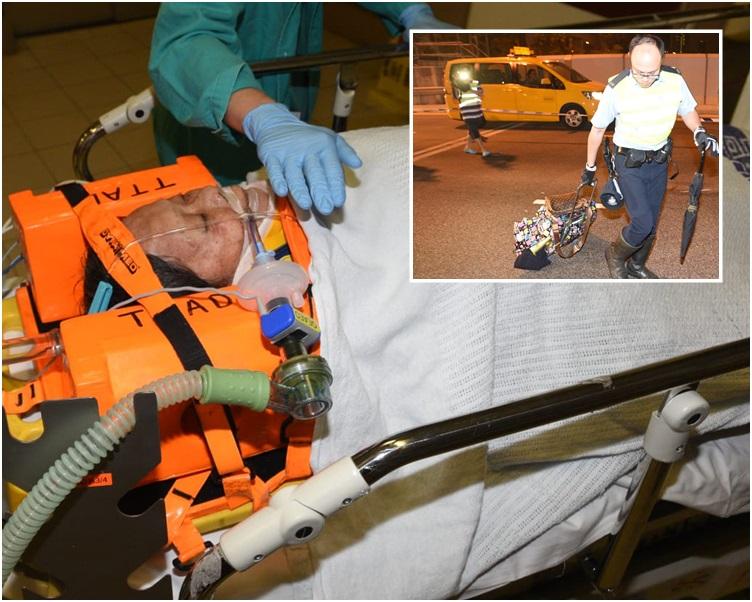 老婦昏迷送院搶救。小圖為遺下的手拉車和雨傘。