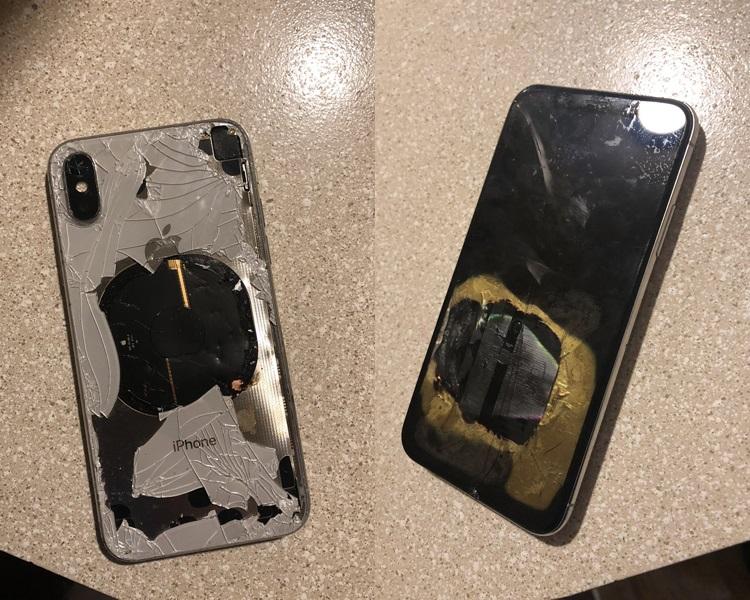 相中可见机背玻璃碎裂,正面屏幕有烧焦痕迹。网图