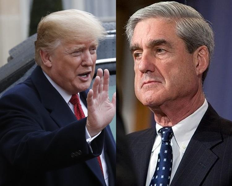 美国总统特朗普(左)表示,他已经透过书面形式,回答特别检察官米勒(右)有关通俄调查的提问。