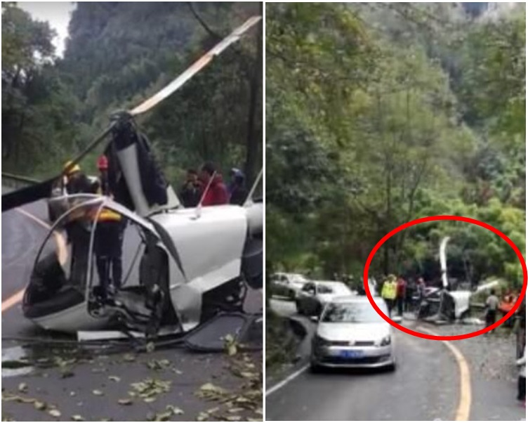 直升機在峨眉山景區峨洪路段墜落。_