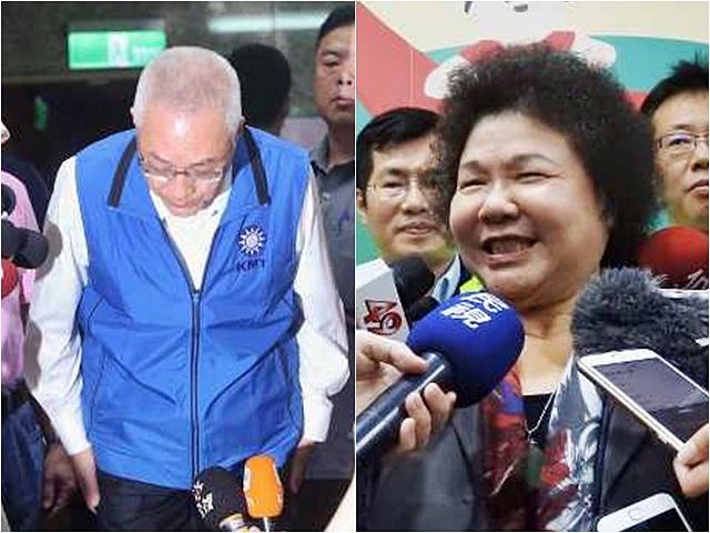 吳敦義(左)就侮辱陳菊的言論致歉。