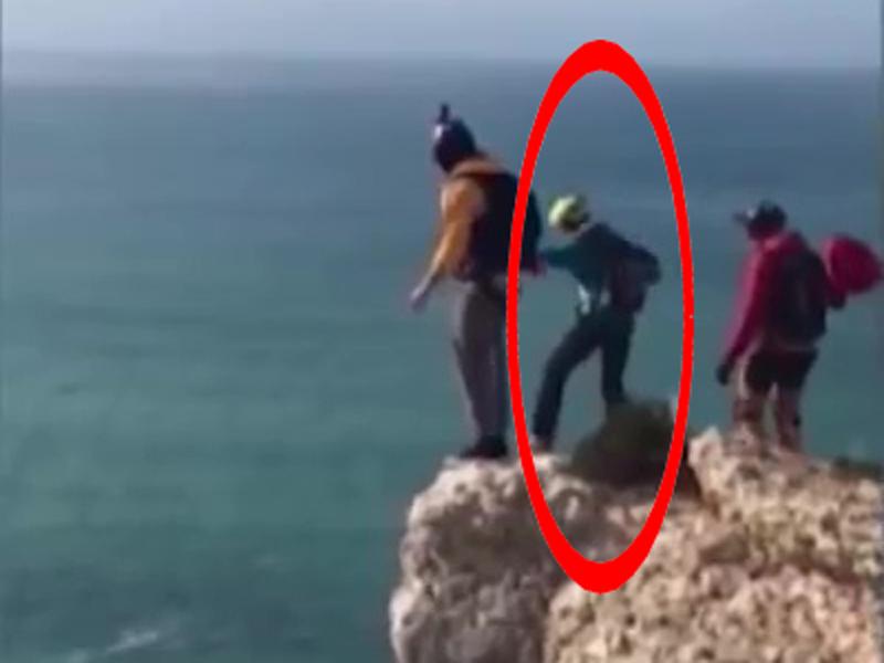 德国男子跳伞失败,队友拍下他堕崖惨死瞬间。(网图)