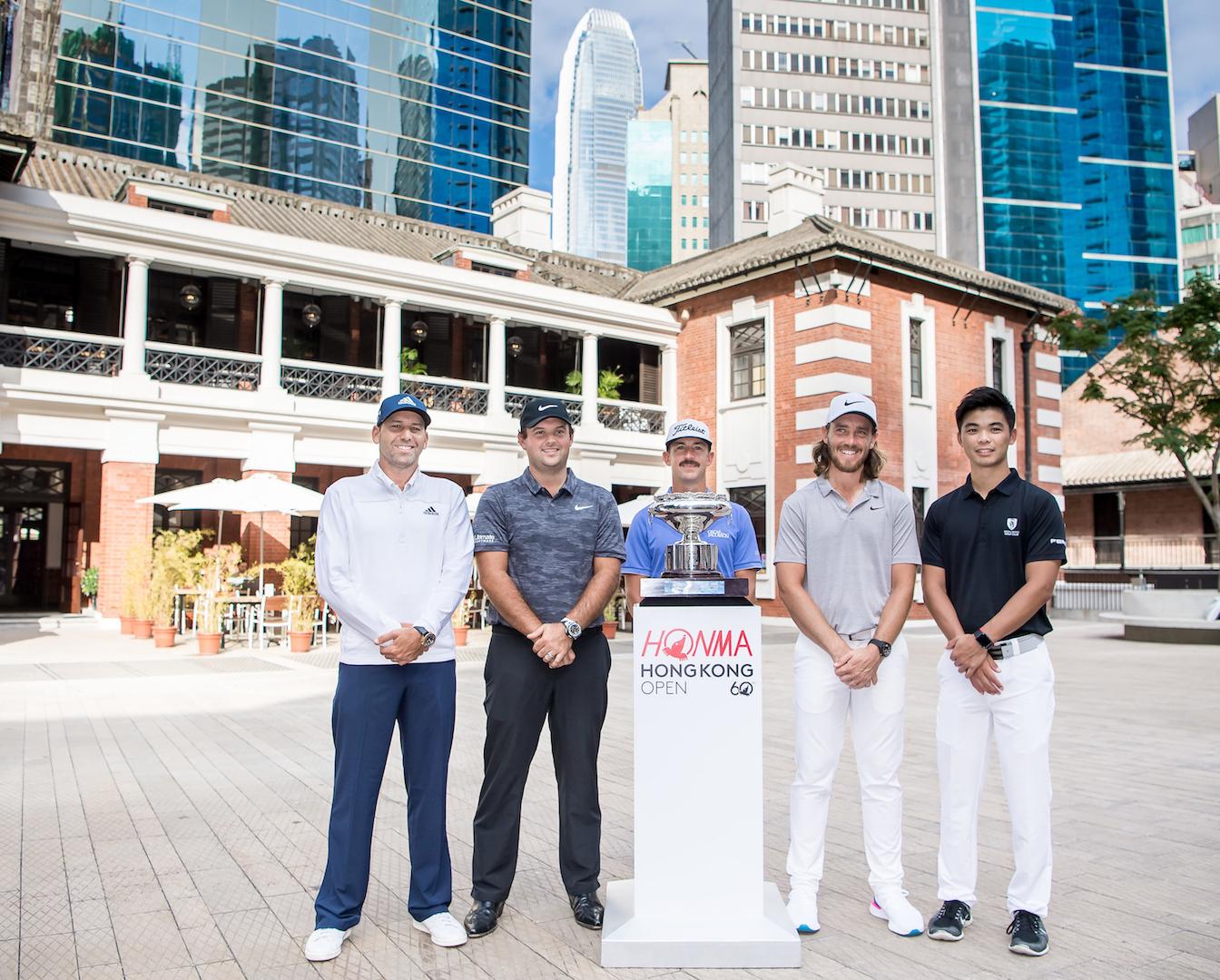 一眾高球星將昨率先於中環大館現身,為香港高爾夫球公開賽造勢。相片由公關提供