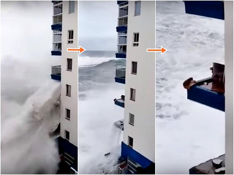 巨浪过后,露台围栏瞬间消失。影片截图
