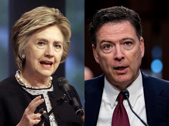 《纽约时报》报道指,特朗普想下令联邦检察官起诉前任国务卿希拉莉(左)和联邦调查局前任局长科米(右) 。