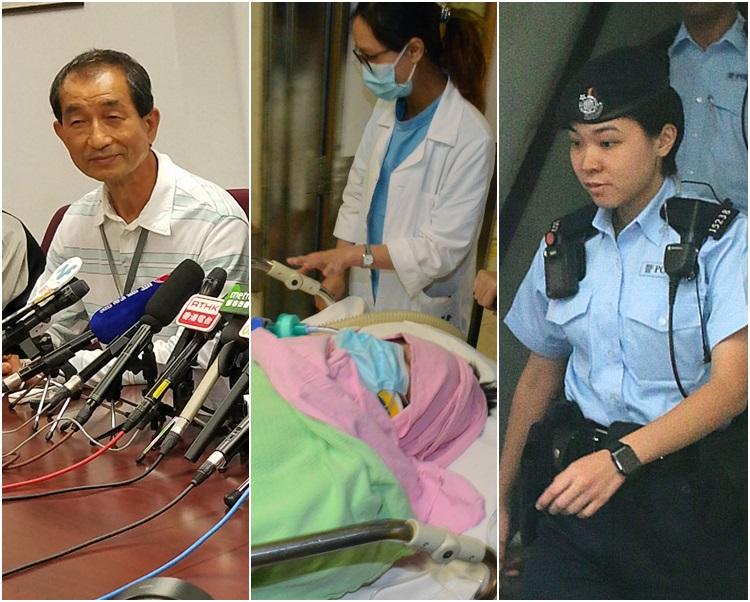 左起,譚先生、中槍事主周先生、開槍女警。