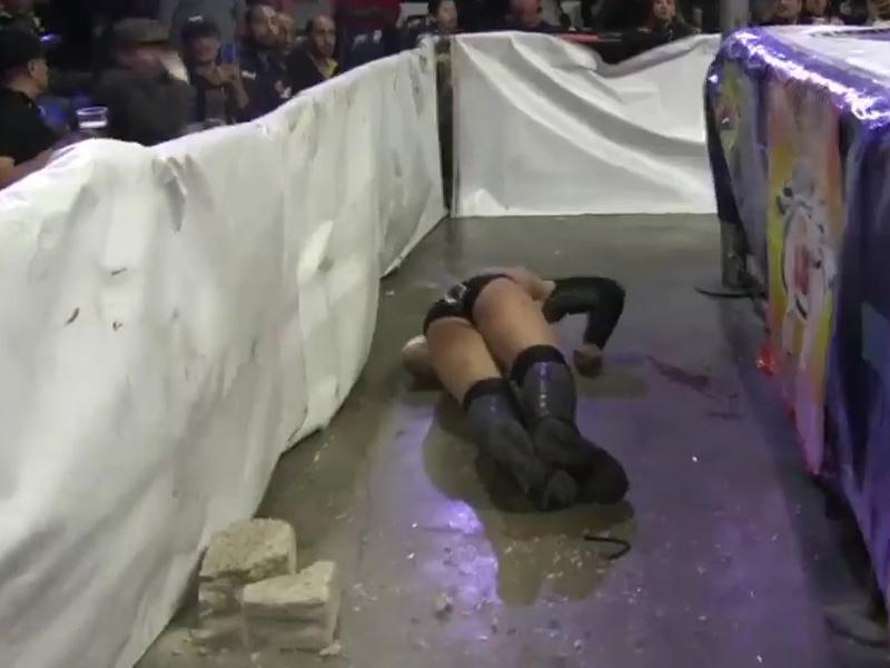 摔角手「禿鷲」被磚頭撃中頭部瞬即倒地不起。(網圖)