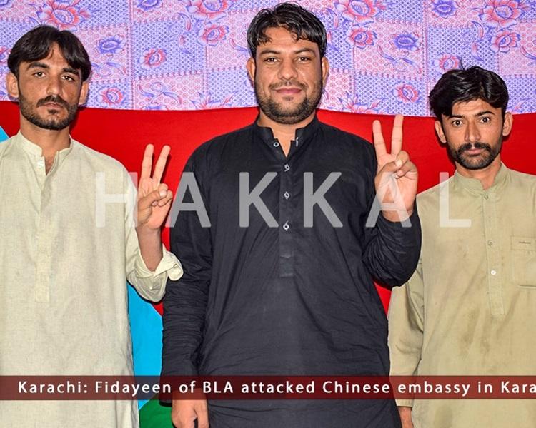 武裝組織「俾路支解放軍」(Balochistan Liberation Army)事後公開3名施襲者「舉V」手勢的照片。BLA Official Twitter