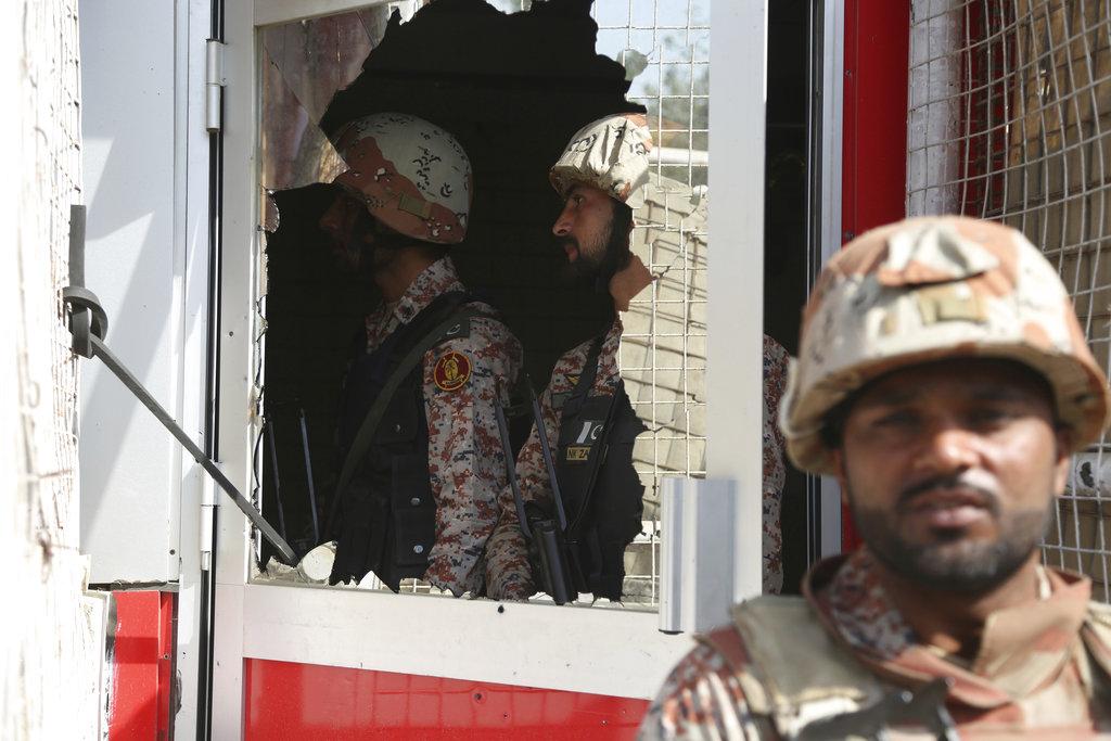 中國駐巴基斯坦卡拉奇領事館遇襲。AP