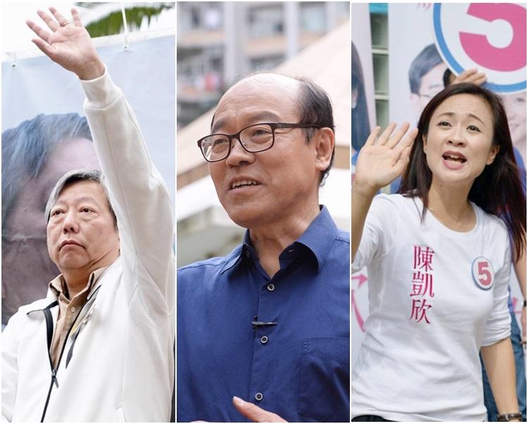 右起:陳凱欣、馮檢基、李卓人在投票日前夕向選民拉票。