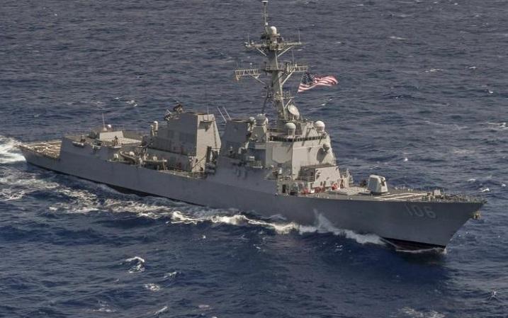 美國驅逐艦「斯托克代爾」號在西太平洋航行。
