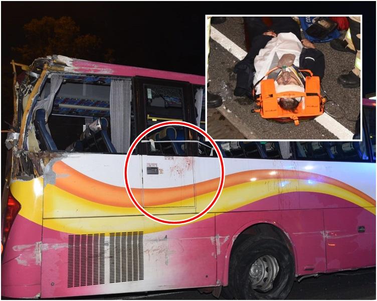 小圖為受傷車長。肇事旅巴車身有懷疑血漬(紅圈示)。