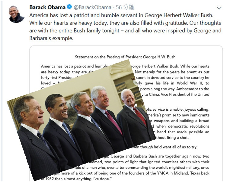 奧巴馬在twitter 上發文悼念。奧巴馬twitter