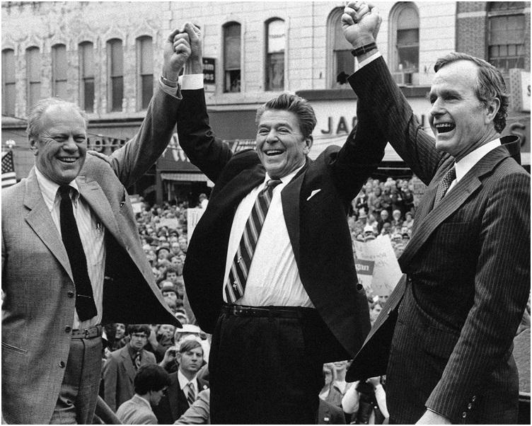 1980年列根上台後邀請老布殊出任副總統。 AP