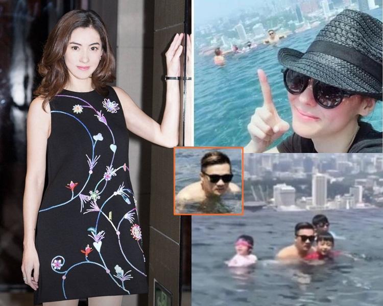 栢芝之前在新加坡酒店池邊為男友人拍照。