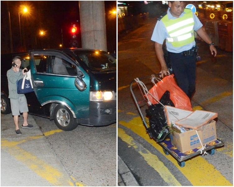 圖左為肇事貨Van及司機。圖右為老翁的手推車。