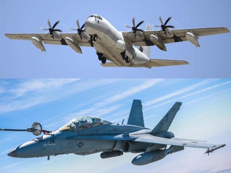 載有兩人的FA18大黃鋒戰機及五人的KC130空中加油機,由岩國基地出發訓練時相撞墮海。(資料圖片)