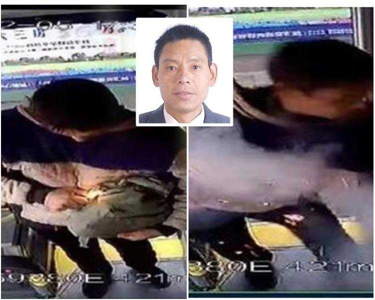 網上影片見到男子手時一袋疑似爆炸物上車後點燃。