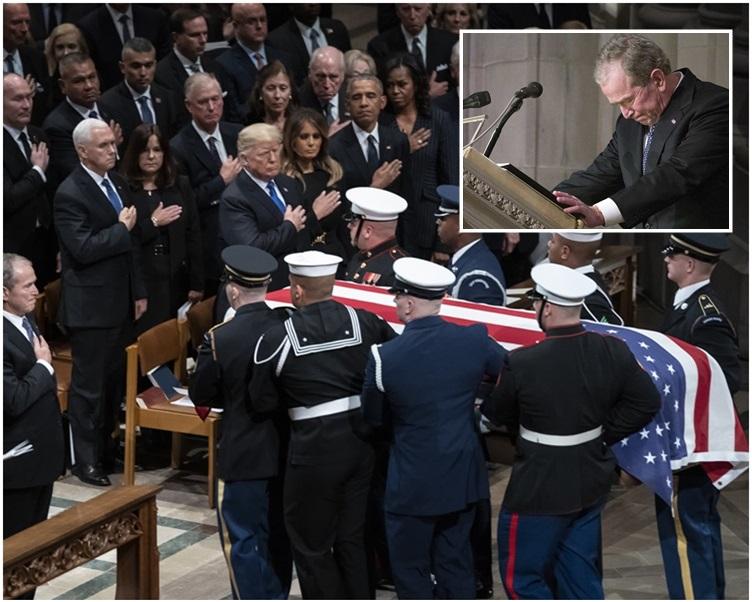 乔治布殊致悼词时语带激动一度哽咽。