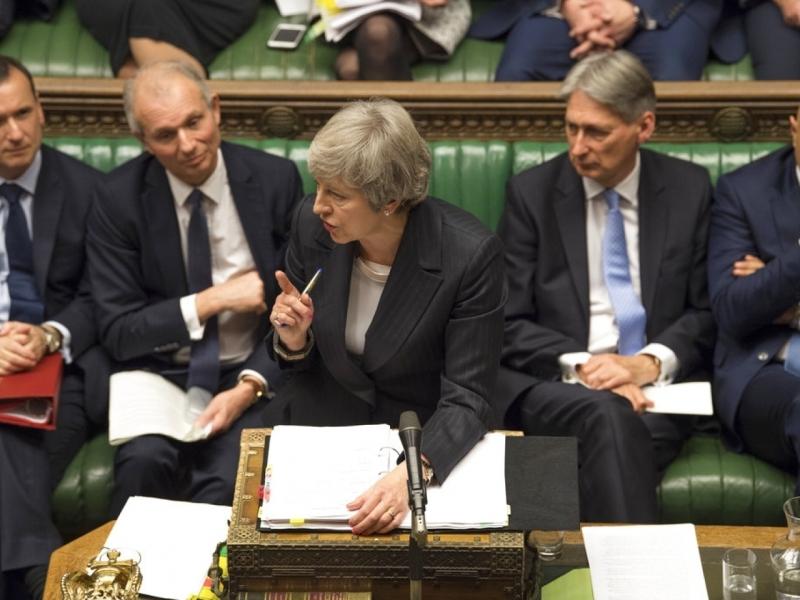 文翠珊在國會下議院繼續為脫歐協議爭取支持。AP