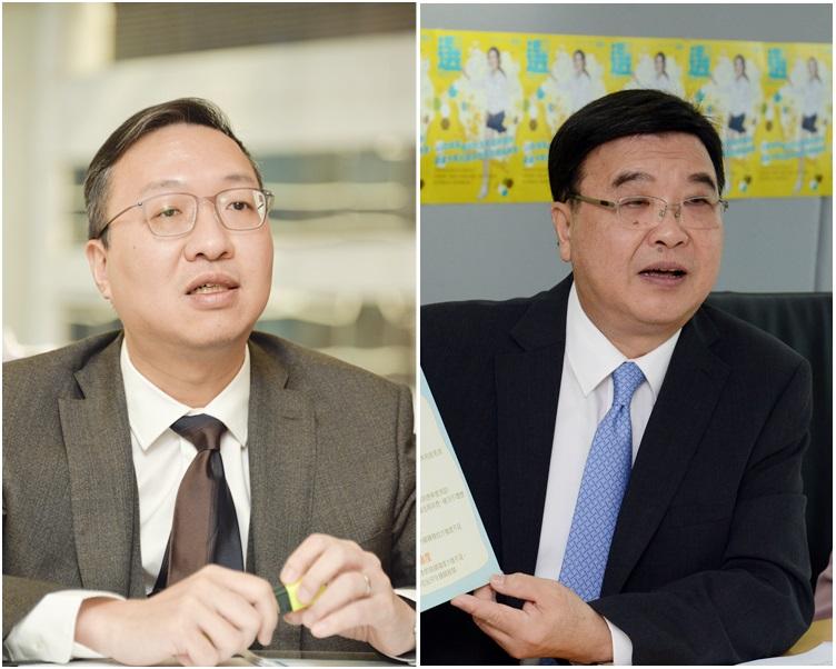 林定國(左)接替黃玉山出任消委會主席。資料圖片