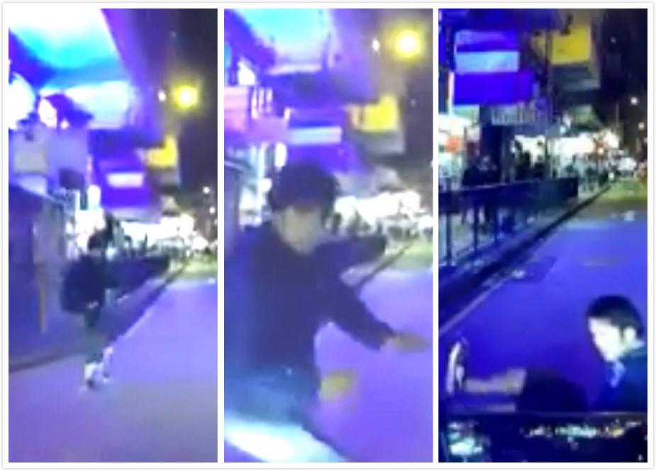 太子有男子懷疑故意衝出馬路捱車撞。網上圖片
