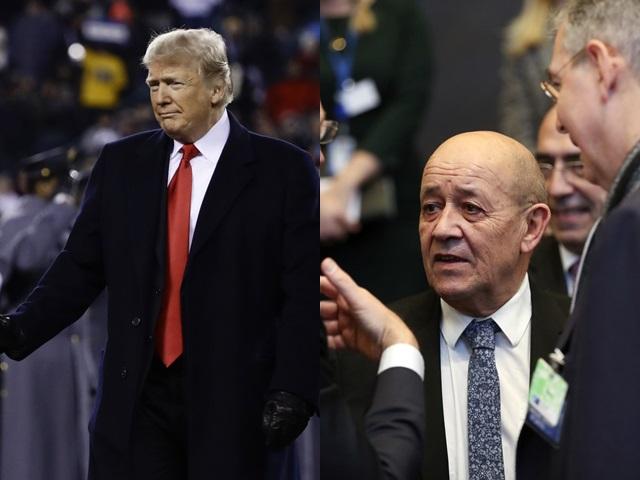 法国外长勒德里昂(右)昨日呼吁特朗普(左)不要干涉法国内政。