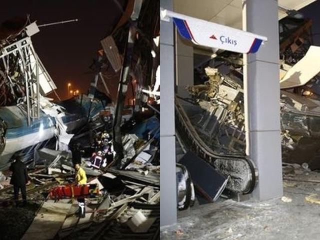 土耳其一列高速火车今早在首都安卡拉一个车站失控撞向一条天桥。网图
