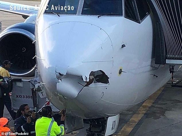 机头严重损毁,雷达装置亦受到破坏,当局正调查事件。(网图)