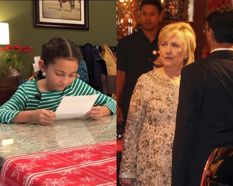 美国一名女小学生因落选班会主席而失望,希拉莉知悉后写信安慰。网图/