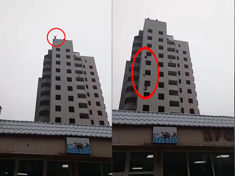 烏克蘭一名少年帶自製降落傘跳樓,結果因傘沒打開摔死。(網圖)