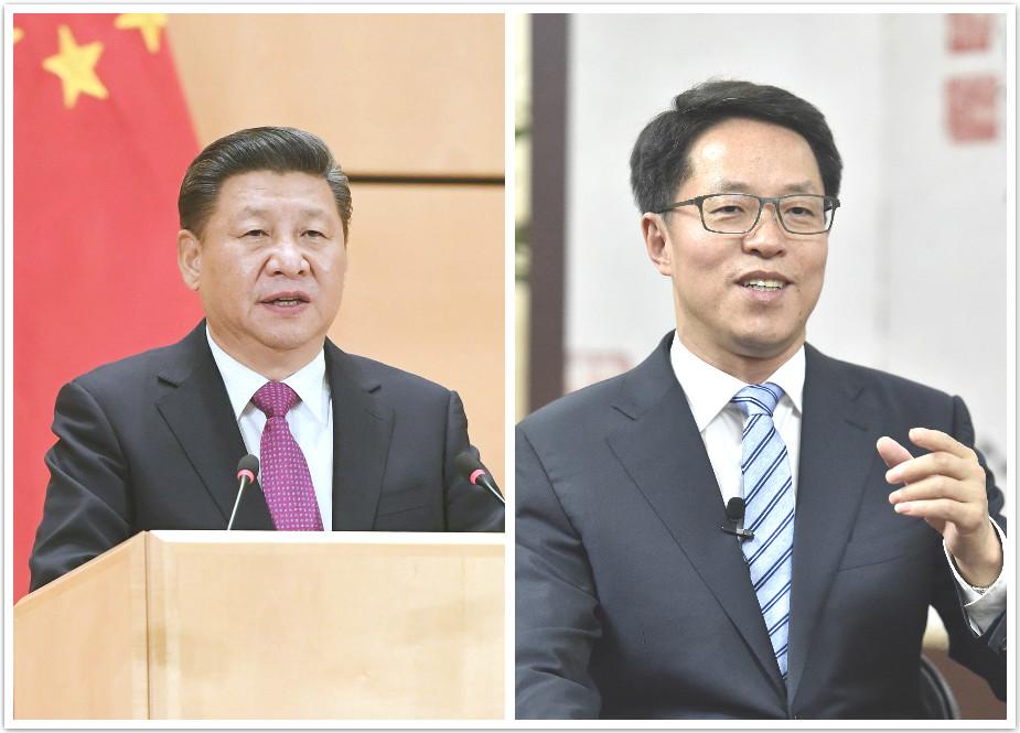 習近平強調不能分裂領土;港澳辦主任張曉明(右)指針對台灣。新華社圖片