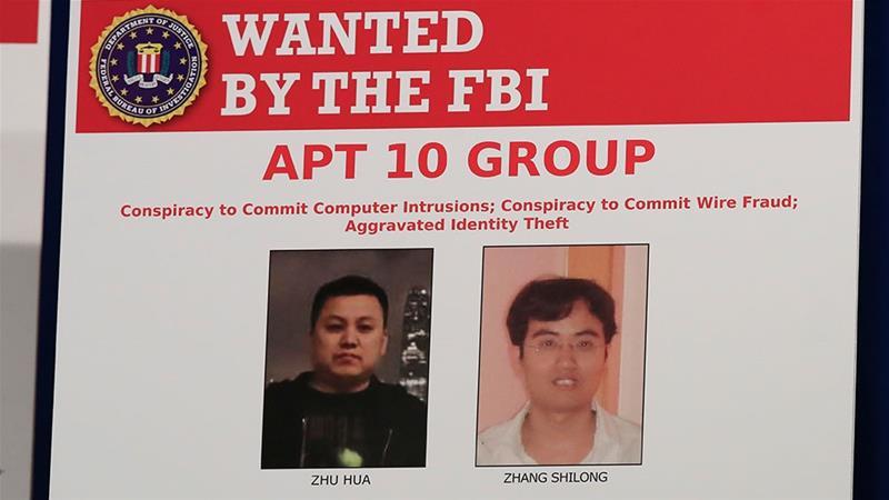 美國司法部起訴兩名中國公民,涉嫌從事黑客活動。AP