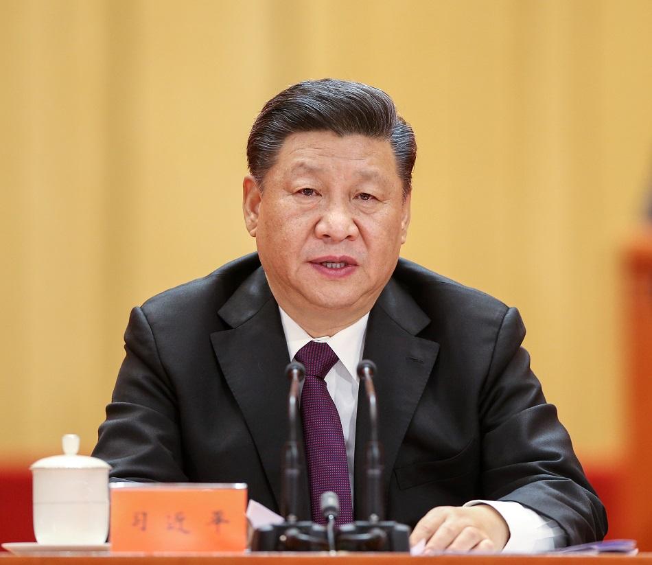 國家主席習近平在會上總結2018年經濟工作。新華社圖片