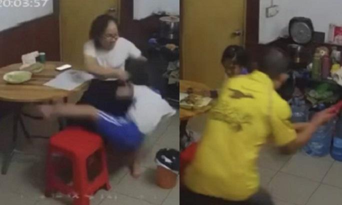 女童多次被父母毒打、掌掴,母亲又强扯头髮,用扫帚猛拍女童背部。影片截图