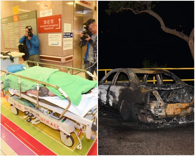 圖左,傷者送院治理。圖右,私家車嚴重焚毀。