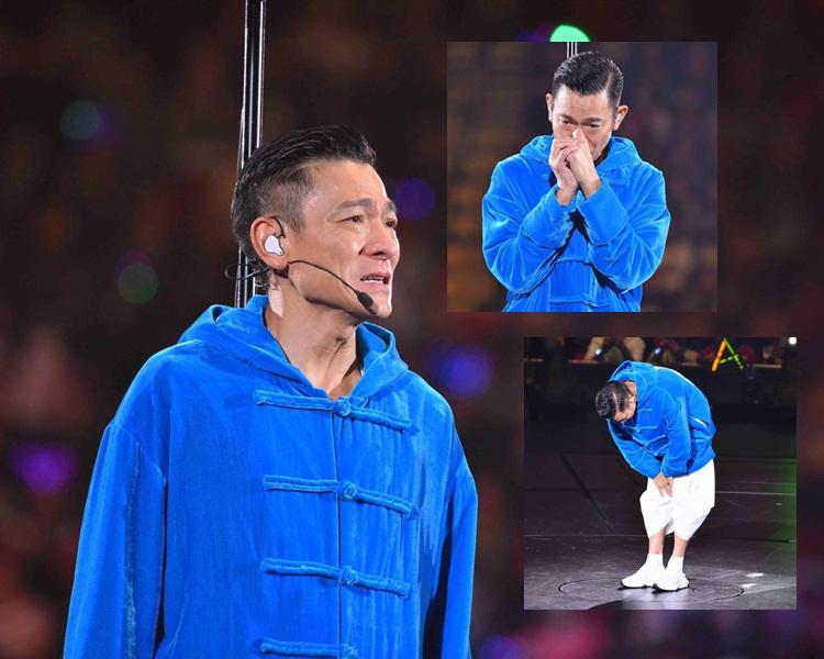 劉德華含淚宣佈腰斬今晚演出,並向觀眾鞠躬致歉。