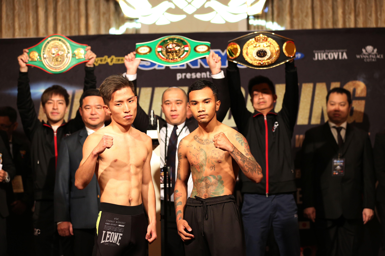 潘啟情(前排左)周一大除夕在澳門出戰拳賽。相片由公關提供